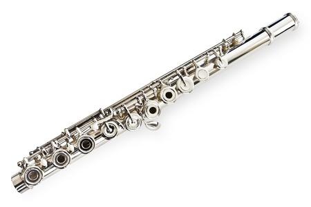 boehm flute: Conjunto de flauta y aisladomedia  Foto de archivo