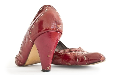 Old Red Shoes Stock Photo