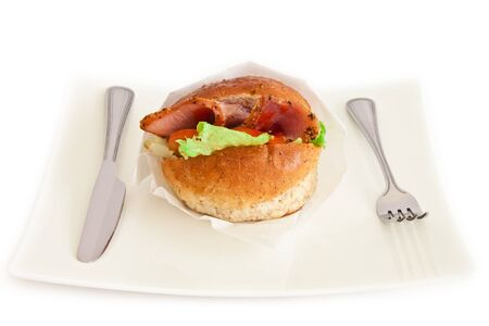 Isolated hamburger on a white plate.  Stock Photo - 9654288