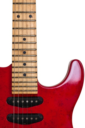 Red Old Guitar  Isolated  photo