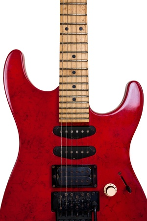fender stratocaster: Red Old Guitar  Isolated