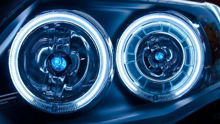 Headlights of a Car  Stock Photo