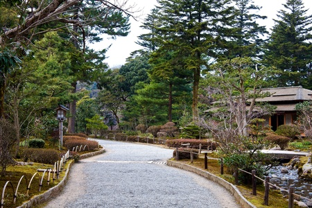 rocky road: A rocky road inside Kenrokuen Park Stock Photo