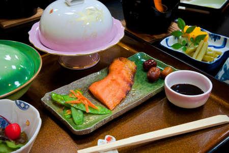 Fried Japanese Salmon Steak Stock Photo - 13004302