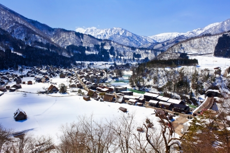 View from the Shiroyama Viewpoint at Gassho-zukuri Village Shirakawago  photo