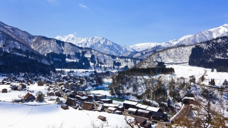 View from the Shiroyama Viewpoint at Gassho-zukuri Village Shirakawago  Stock Photo - 14058846