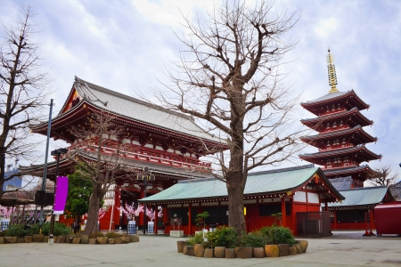 Pagoda and Gate at Sensoji Asakusa Temple