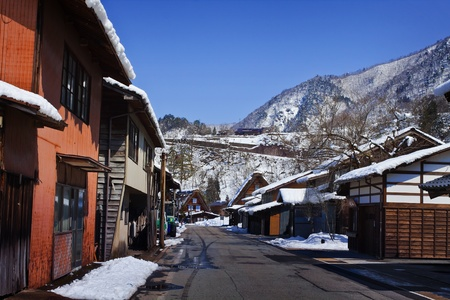 A Road in Gassho-zukuri Village Shirakawago  photo