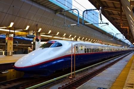 TOKYO, JAPAN - MARCH 24  Japan s main islands, Honshu and Kyushu are served by a network of high speed train lines that connect Tokyo with most of the major cities  on March 24, 2012 in Tokyo, Japan