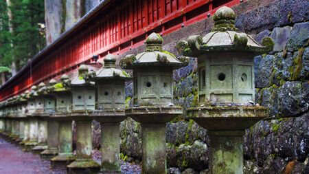 Stone lanterns at Toshogu Shrine, Nikko, Japan photo