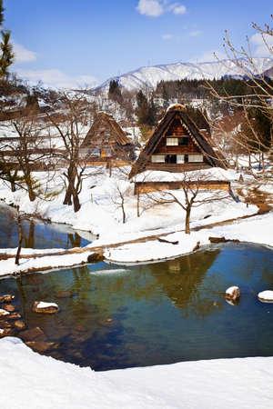shirakawago: Small Swamp Surrounded with Snow at Gassho-zukuri Village Shirakawago