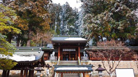 hachimangu: The Gate of Sakurayama Hachimangu Shrine, Hida, Takayama, Japan in Winter
