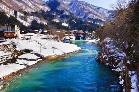 River at Gassho-zukuri Village Shirakawago Stock Photo - 14465585