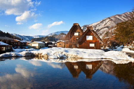 historical reflections: The Gate of Sakurayama Hachimangu Shrine, Hida, Takayama, Japan in Winter