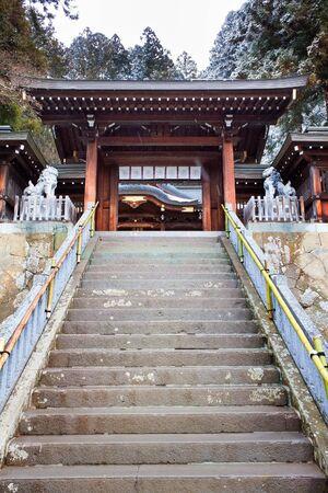 hachimangu: Stair to  Sakurayama Hachimangu Shrine, Hida, Takayama, Japan in Winter Editorial