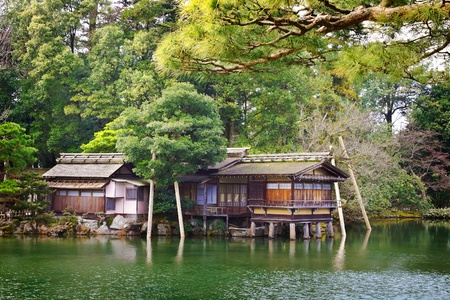 Japanese House in a Lake Stock Photo - 14485469