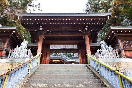 hachimangu: Stair to  Sakurayama Hachimangu Shrine, Hida, Takayama, Japan in Winter Stock Photo