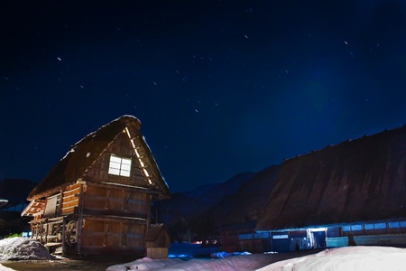 Cottage at Gassho-zukuri Village at night  Shirakawago Stock Photo - 14597389