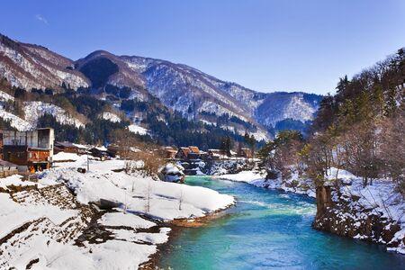 Shokawa River at Gassho-zukuri Village Shirakawago  photo