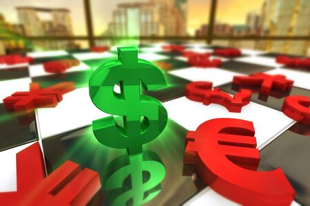 almighty: Green U S  dollar Symbol with red international currencies on a Chess Board  Stock Photo