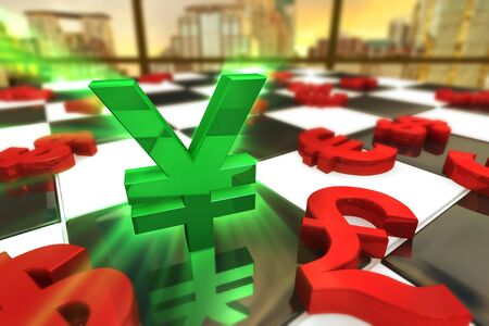 almighty: Green Japanese Yen Symbol with red international currencies on a Chess Board