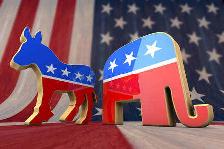 republican party: Democrat Party and Republican Party Symbol on an American Flag Background  Editorial