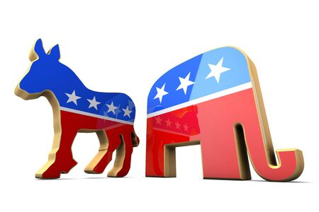 Isolated Democrat Party and Republican Party Symbols  Editorial
