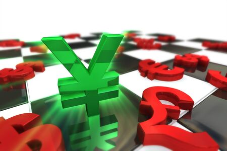 japanese yen: Green Japanese Yen Symbol with red international currencies on a Chess Board