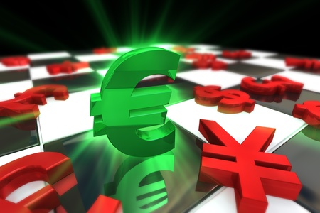 almighty: Green Euro dollar Symbol with red international currencies