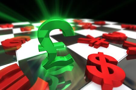 british pound: Green British Pound Sterling Symbol with red international currencies Stock Photo