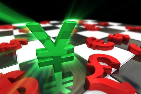 japanese yen: Green Japanese Yen Symbol with red international currencies