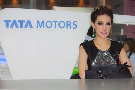 BANGKOK, THAILAND - DECEMBER 4  Tata Motors pavilion, in Bangkok, Thailand on December, 2012  Unidentified female model at Tata Motors pavilion  in THE 29th THAILAND INTERNATIONAL MOTOR EXPO 2012  Stock Photo - 16742657