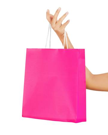 Isolated woman hand carries a shopping bag Stock Photo - 17415900