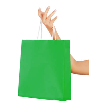 Isolated woman hand carries a shopping bag Stock Photo - 17642065