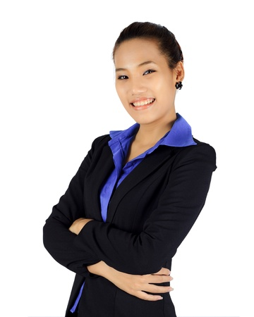 Isolated success young business woman on white