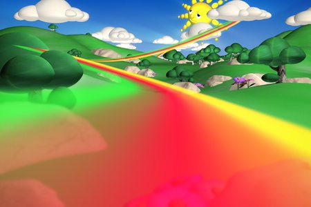 3D renderingof a landscape of rianbow hills