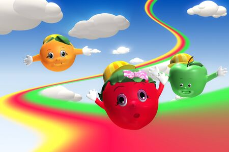 3d rendering of  strawberry, orange and green apple characters flying with rainbow Stock Photo - 18521505