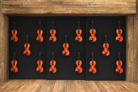 violins: 3d render of Violins hung on the wall Stock Photo