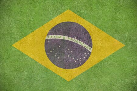 Brazil flag painted on a grass field Stock Photo - 18845801
