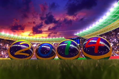 3D rendering of footballs in the year 2014 in a football stadium Stock Photo - 18845978