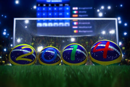 3D rendering of footballs in the year 2014 in a football stadium Stock Photo - 18845972