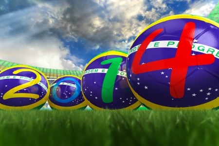 3D rendering of footballs in the year 2014 in a football stadium Stock Photo - 18845980