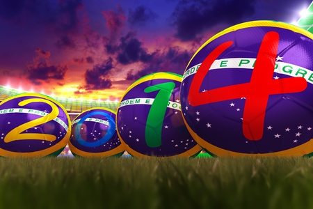 3D rendering of footballs in the year 2014 in a football stadium Stock Photo - 18845979