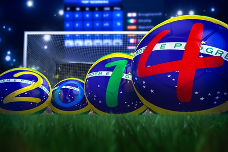 3D rendering of footballs in the year 2014 in a football stadium Stock Photo - 18845976