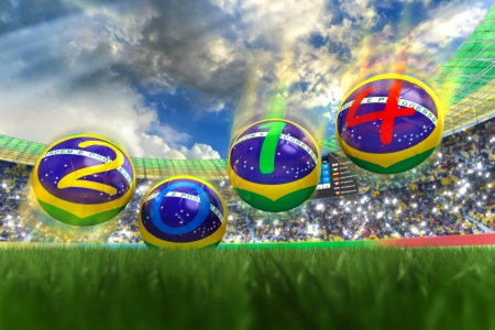 3D rendering of footballs in the year 2014 in a football stadium Stock Photo - 18909872