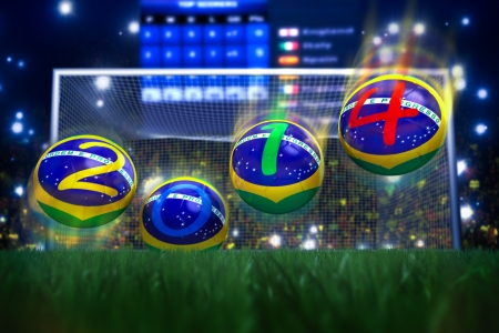 3D rendering of footballs in the year 2014 in a football stadium Stock Photo - 18909884