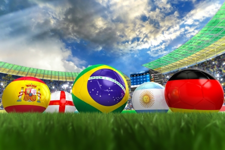3D rendering of footballs in the year 2014 in a football stadium Stock Photo - 18909873