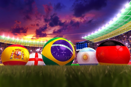3D rendering of footballs in the year 2014 in a football stadium Stock Photo - 18909880