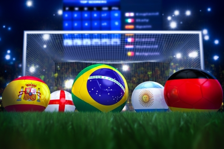 3D rendering of footballs in the year 2014 in a football stadium Stock Photo - 18909883