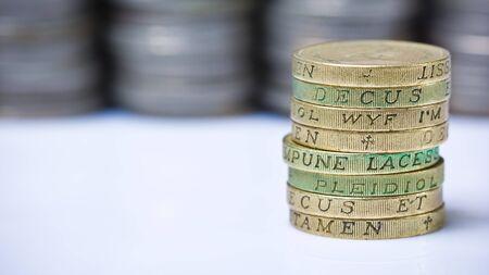 quid: Closeup of stack of british pound coins